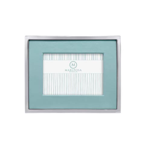 $120.00 Teal Leather with Metal Border 5x7 Frame