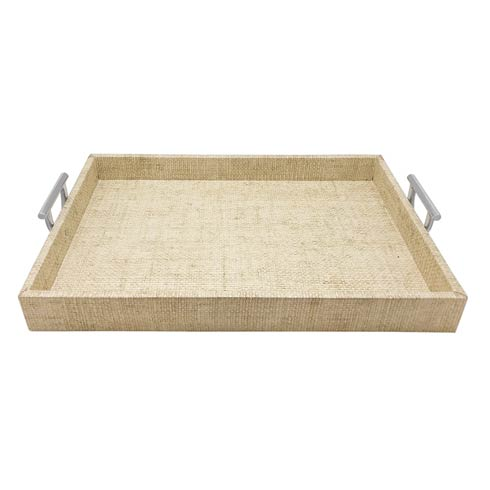 $225.00 Sand Faux Grass Cloth Tray with Metal Handles