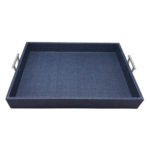 $225.00 Indigo Faux Grass Cloth Tray with Metal Handles