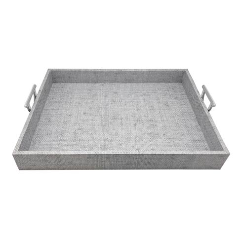 $225.00 Pale Gray Faux Grass Cloth Tray with Metal Handles