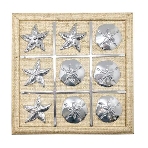 $195.00 Starfish & Sand Dollar Sand Faux Grass Cloth Tic Tac Toe Set