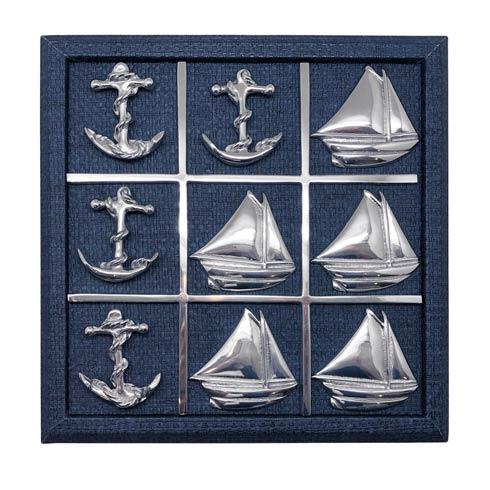 $195.00 Sailboat & Anchor Indigo Blue Faux Grass Cloth Tic Tac Toe Set