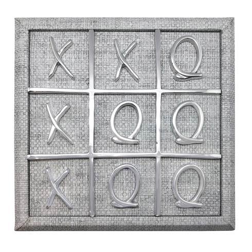 $195.00 XOXO Gray Faux Grass Cloth Tic Tac Toe Set