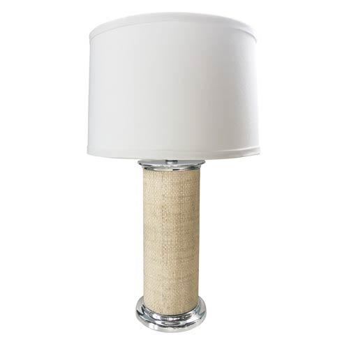 $265.00 Sand Faux Grasscloth Column Table Lamp