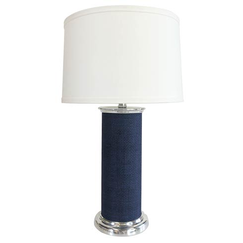 $265.00 Indigo Blue Faux Grasscloth Column Table Lamp