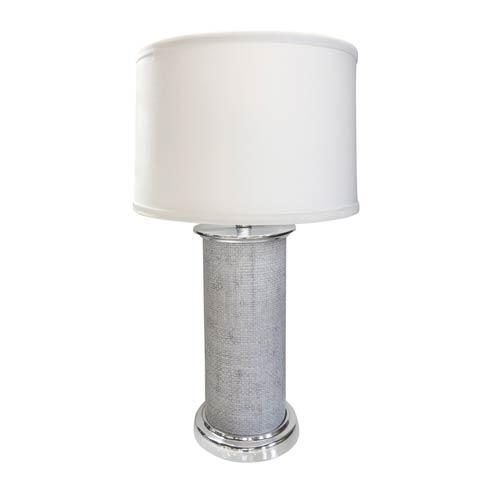 $265.00 Pale Gray Faux Grass Cloth Column Table Lamp