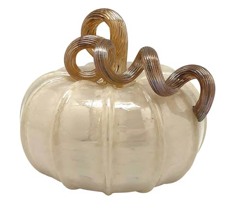 $69.00 White Glass Medium Pumpkin