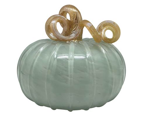 $98.00 Teal Glass Large Pumpkin