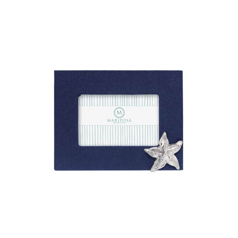 $89.00 Navy Blue Linen with Starfish Icon 4x6 Frame