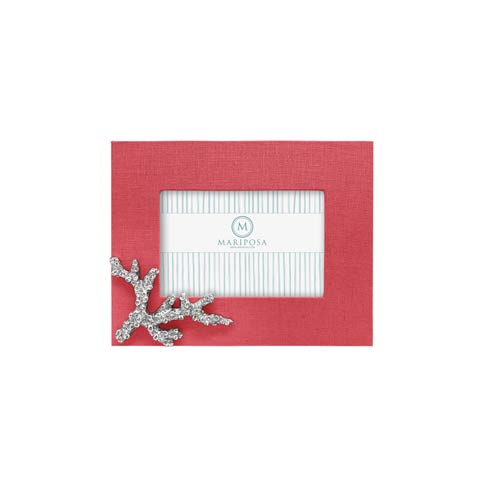 $89.00 Coral Linen with Coral Icon 4x6 Frame