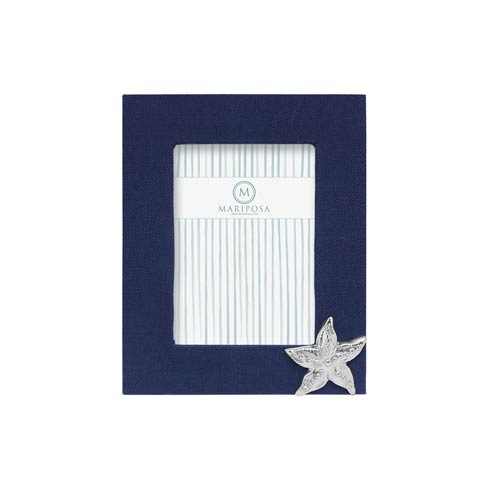 $98.00 Navy Blue Linen with Starfish Icon 5x7 Frame