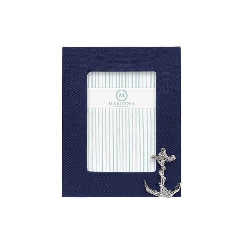$98.00 Navy Blue Linen with Anchor Icon 5x7 Frame