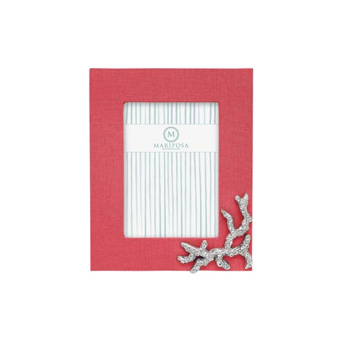 $98.00 Coral Linen with Coral Icon 5x7 Frame