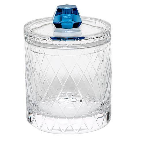 "$3,340.00 Canister 8.5"" H W/Lid Wedge Cuts - Clear & Aqua"