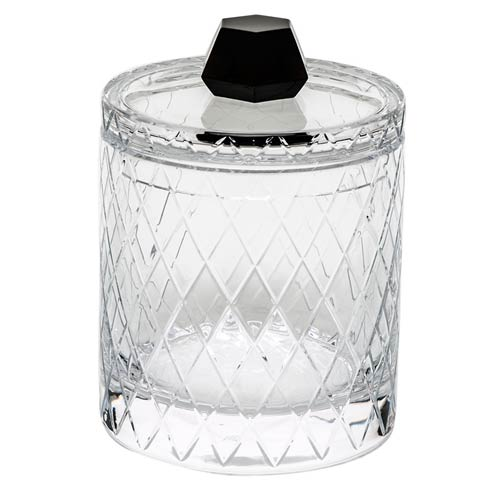 """$3,340.00 Canister 8.5"""" H W/Lid Wedge Cuts - Clear & Smoke"""