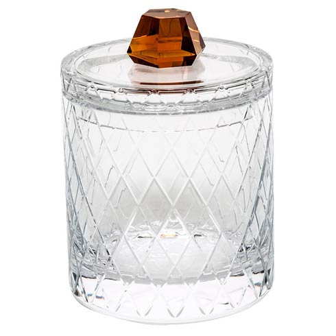 """$3,340.00 Canister 8.5"""" H W/Lid Wedge Cuts - Clear & Topaz"""