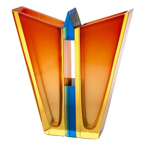 """$9,500.00 Vase 14.2"""" H Eldor & Orange & Aquamarine"""