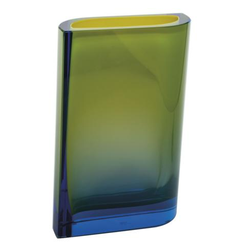 "$2,350.00 Kolorit Vase 11.8"" H Aquamarine & Yellow"
