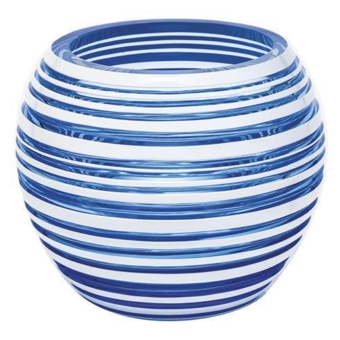 """$3,000.00 Vase 7"""" H Horizontal - Aqua & White"""