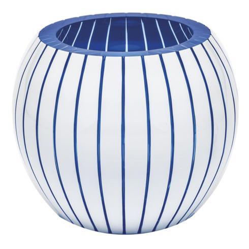 """$3,000.00 Vase 7"""" H Vertical - Aqua & White"""