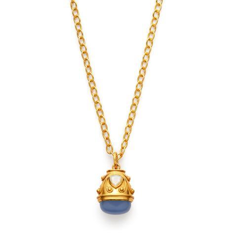 $355.00 Byzantine Pendant, Chalcedony Blue