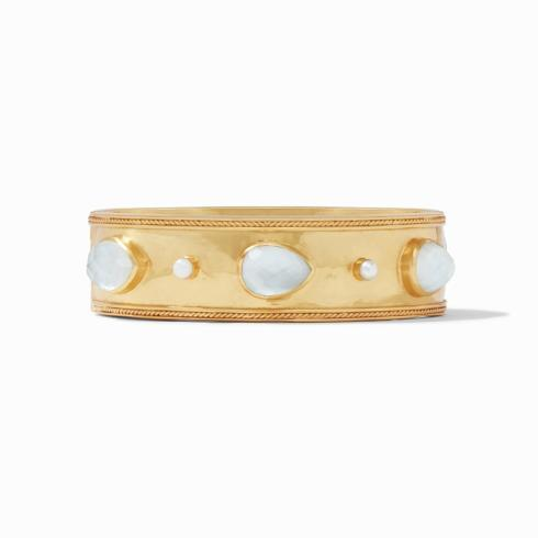 $345.00 Cassis Statement Hinge Bangle, clear crystal w/ pearl accents