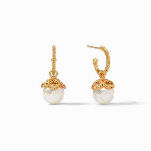 $135.00 Chloe Pearl Hoop & Charm Earring