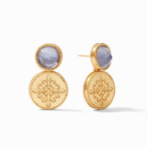 $145.00 Fleur-de-Lis Earrings, Slate Blue