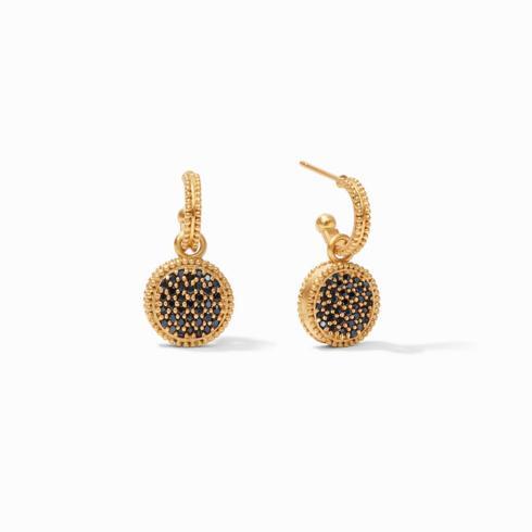 $145.00 Fleur-de-Lis Hoop & Charm Earring, Pave\' Obsidian Black Reversible