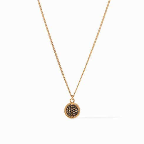 $135.00 Fleur-de-Lis Solitaire Necklace, Pave\' Obsidian Black