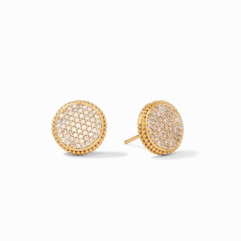 $125.00 Fleur-de-Lis Pave\' Stud Earrings, Cubic Zirconia