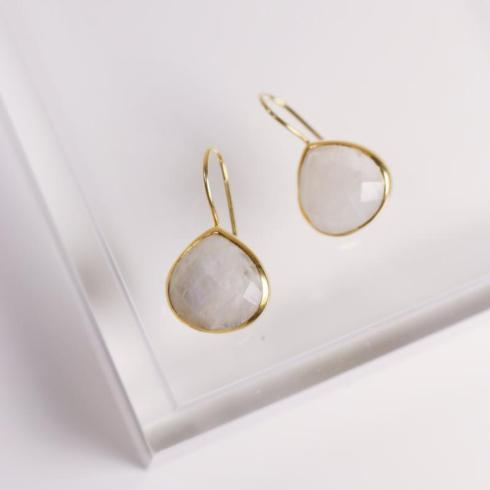 $60.00 Turks & Caicos earrings, gold/moonstone