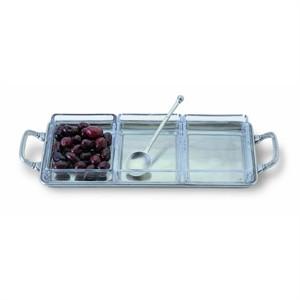 $345.00 Crudite Tray w/crystal & handles