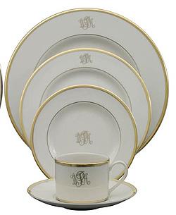$80.00 Pickard Signature Gold Ivory Dinner Plate, Monogrammed