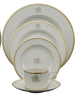 $80.00 Pickard Signature Gold Ivory Dinner Plate, Monogrammed