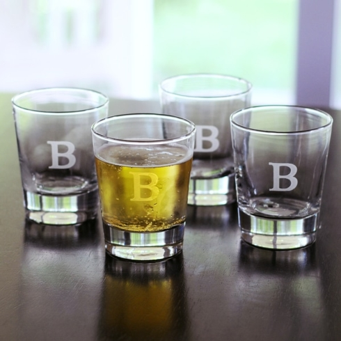 My Favorite Things Exclusives   Engraved Tapered Double Old Fashion, Set of 4 $54.95