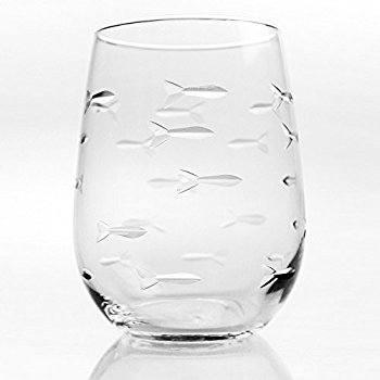 $11.95 Swimming Fish Stemless Wine Glass