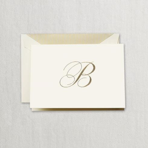 """$24.95 Gold Hand Engraved """"B"""" Initial Notes on Ecruwhite Kid Finish Paper"""