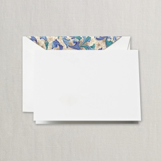 Blue Florentine Notes on Pearl White Kid Finish Paper (10) Cards & Envelops