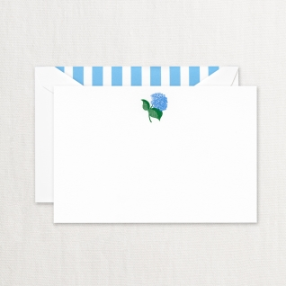 Engraved Blue Hydrangea Cards on Pearl White Kid Finish Paper (10) Cards & Envelops