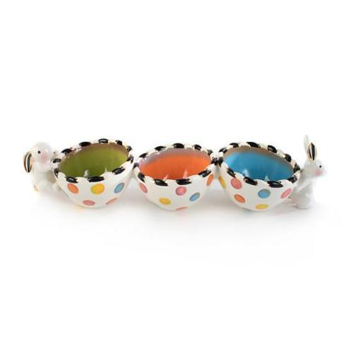 $82.60 Mackenzie-Childs Dotty Triple Bowl