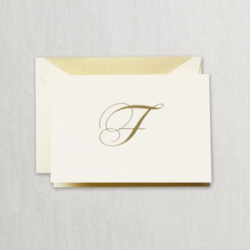 """$24.95 Gold Hand Engraved """"F"""" Initial Notes on Ecruwhite Kid Finish Paper"""