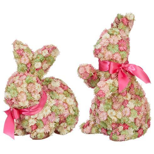 "$33.60 Pair, 9"" Floral Rabbits"