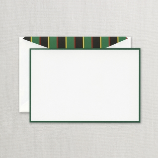 Hunter Green Bordered Cards on Pearl White Kid Finish Paper (10) Cards & Envelops