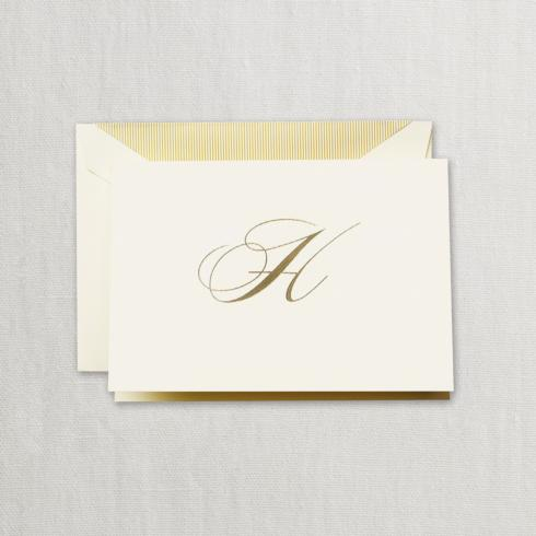 """$24.95 Gold Hand Engraved """" H"""" Initial Notes on Ecruwhite Kid Finish Paper"""