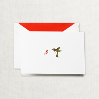 Hand Engraved Humming Bird Notes on Pearl White Kid Finish Paper (15) Cards & Envelops