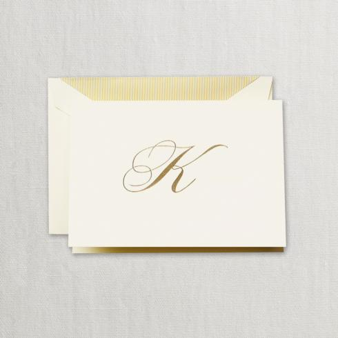 "Crane & Co  Boxed Stationery Sets Gold Hand Engraved ""K"" Initial Notes on Ecruwhite Kid Finish Paper $24.95"
