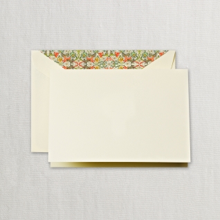 Notes on Ecru Kid Finish Paper with Red Florentine Lined Envelopes (10)