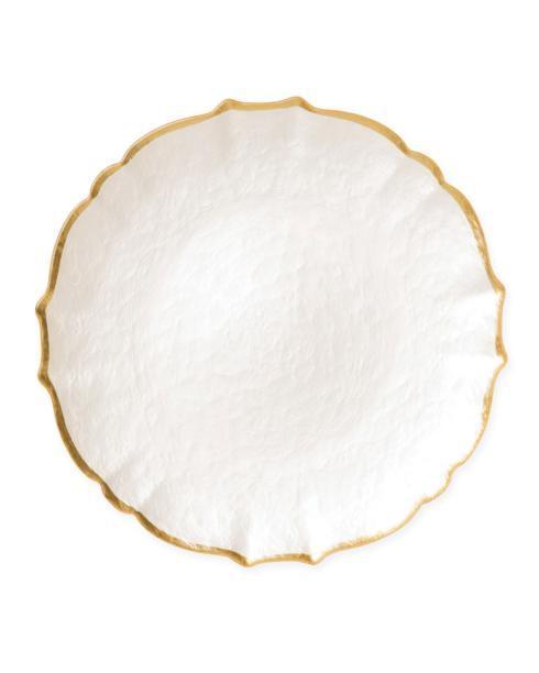 $36.00 Baroque Glass White Service Plate