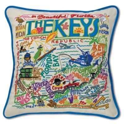catstudio   Florida Keys Hand-Embroidered Pillow $184.00